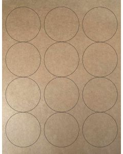 12 UP Laser Labels - 2.5-in CIRCLE - 12 Labels per Sheet-Brown Kraft-1000