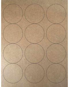 12 UP Laser Labels - 2.5-in CIRCLE - 12 Labels per Sheet-Brown Kraft-25