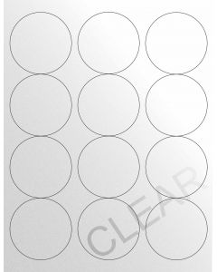 12 UP Laser Labels - 2.5-in CIRCLE - 12 Labels per Sheet-Crystal Clear-250