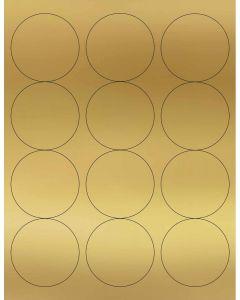 12 UP Laser Labels - 2.5-in CIRCLE - 12 Labels per Sheet-Gold Foil-25