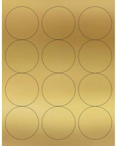 12 UP Laser Labels - 2.5-in CIRCLE - 12 Labels per Sheet-Gold Foil-250