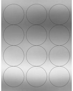 12 UP Laser Labels - 2.5-in CIRCLE - 12 Labels per Sheet-Silver Foil-25