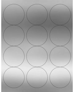 12 UP Laser Labels - 2.5-in CIRCLE - 12 Labels per Sheet-Silver Foil-1000