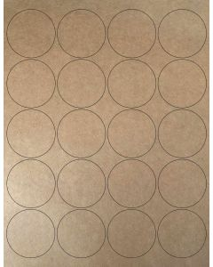 20 UP Laser Labels - 2 in CIRCLE - 20 Labels per Sheet-Brown Kraft-25