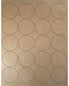 20 UP Laser Labels - 2 in CIRCLE - 20 Labels per Sheet-Brown Kraft-250