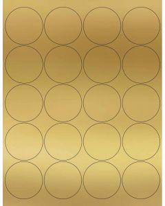 20 UP Laser Labels - 2 in CIRCLE - 20 Labels per Sheet-Gold Foil-25