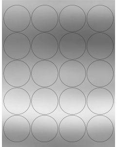 20 UP Laser Labels - 2 in CIRCLE - 20 Labels per Sheet-Silver Foil-25
