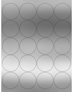 20 UP Laser Labels - 2 in CIRCLE - 20 Labels per Sheet-Silver Foil-1000