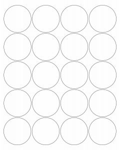 20 UP Laser Labels - 2 in CIRCLE - 20 Labels per Sheet-White-25