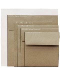 Brown Bag Envelopes - KRAFT - 7.5 in Square Envelopes - 25 PK