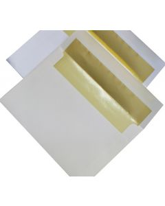 [Clearance] A8 FOIL LINED Envelopes - SOFT White (80T) Envelopes with Gold Foil Lining - 50 PK