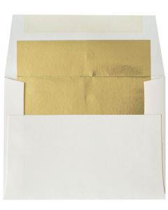 [Clearance] A2 FOIL LINED Envelopes - Soft White 80T Envelopes with Gold Foil Lining - 50 PK