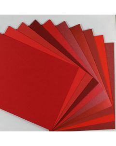 Crafters Pure Hues - Shades of RED 8.5 x 11 - (Cardstock) MIX Finish (10 colors / 5 each) - 50 PK