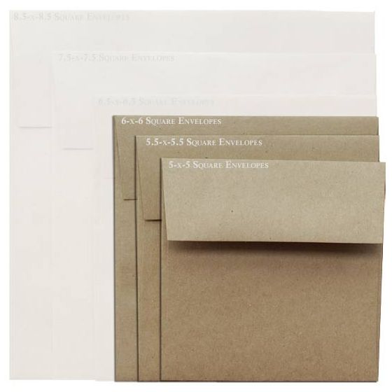 Brown Bag Envelopes - KRAFT - 6 in Square Envelopes - 200 PK