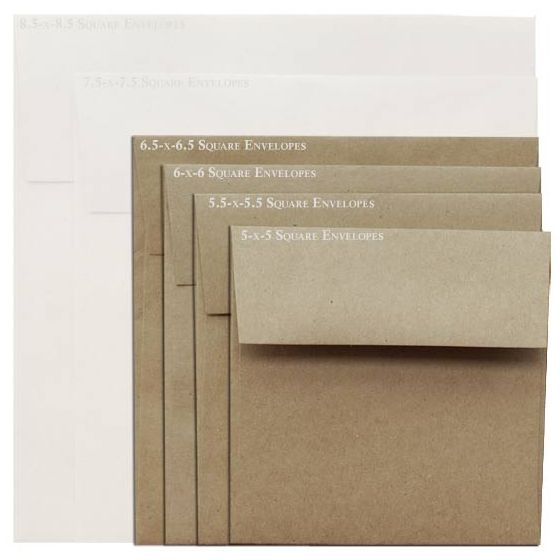 Brown Bag Envelopes - KRAFT - 6.5 in Square Envelopes - 200 PK