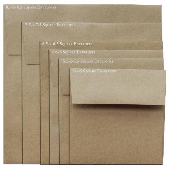 Brown Bag Envelopes - KRAFT - 8.5 in Square Envelopes - 25 PK
