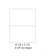 2 UP (to-edge) Shipping Labels - Half Sheet Labels (8.5 in x 5.5 in) - 2 Labels per Sheet / 25 Sheets