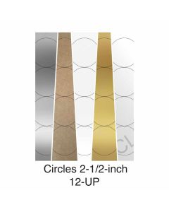 12 UP Laser Labels - 2.5 in CIRCLE - 12 Labels per Sheet