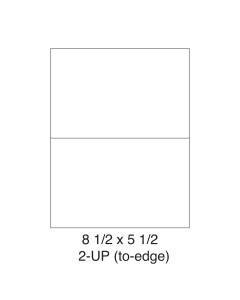 2 UP (to-edge) Shipping Labels - Half Sheet Labels (8.5 in x 5.5 in) - 2 Labels per Sheet / 1000 Sheets