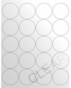 20 UP Laser Labels - 2 in CIRCLE - 20 Labels per Sheet-Crystal Clear-1000