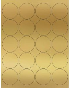 [Clearance] 20 UP Laser Labels - 2 in CIRCLE - 20 Labels per Sheet-Gold Foil-250
