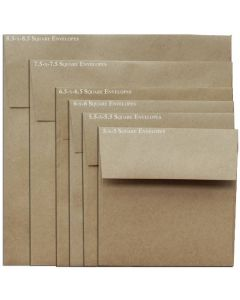 [Clearance] Brown Bag Envelopes - KRAFT 28T - 8.5 in Square Envelopes - 25 PK