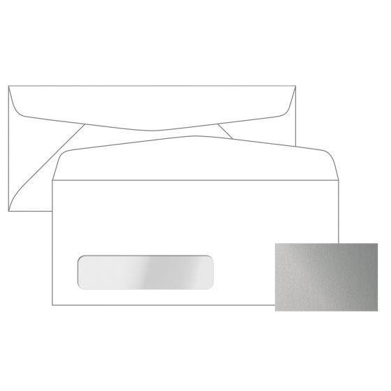 Stardream - SILVER No. 10 Poly Window Envelopes (4.125-x-9.5-inches) - 2500 PK