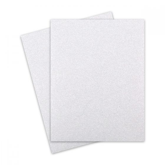 Glitter Paper - DIAMOND WHITE (1-Sided) 8-1/2-x-11 Letter Size Paper (12PT Offset) - 100 PK