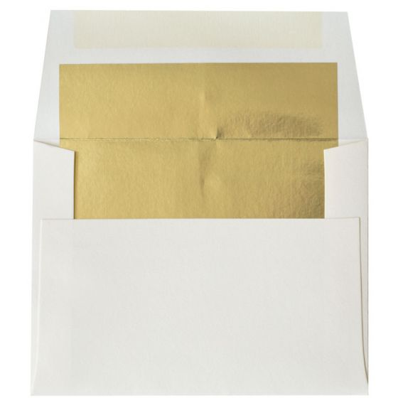 [Clearance] A2 FOIL LINED Envelopes - Soft White 80T Envelopes with Gold Foil Lining - 250 PK