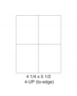 4 UP (to-edge) Shipping Labels - (5.5 in x 4.25 in) - Shipping Labels - 4 Labels per Sheet / 250 Sheets