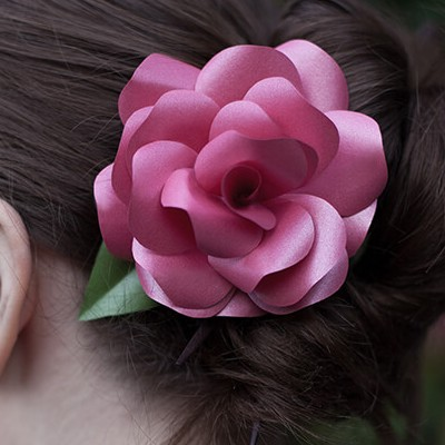 Paper Rose Hair Ornament